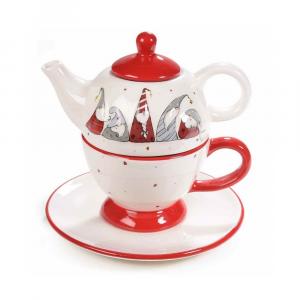 Set teiera e tazza con gnomi in rilievo Natale