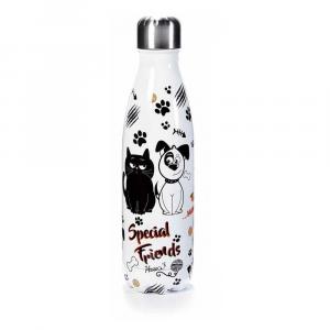Bottiglia termica 500 ml acciaio lucida design cane e gatto