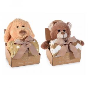 Coppia di coperte con orsetto e cagnolino in peluche