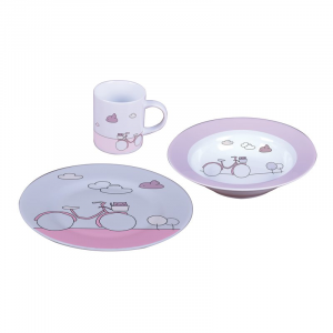 SET TRE PEZZI PORCELLANA PINK BIKE SAMBONET
