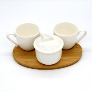 Vassoio caffè per 2 zuccheriera bianca porcellana e legno