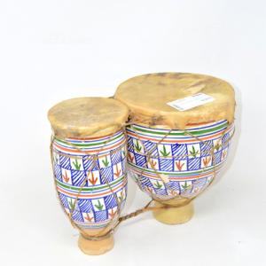 Coppia Di Tamburi In Terracotta, Altezza 25 Cm Fatti A Mano