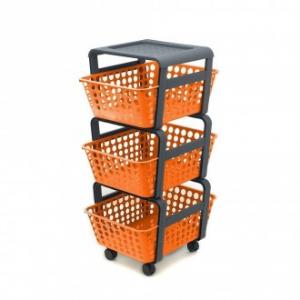 Carrellino Modulo Con 3 Cassetti Estraibili In Plastica Arancione Multifunzione Portatutto Casa