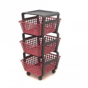 Carrellino Modula Rosso Con 3 Cassetti Estraibili in Plastica Portatutto Multifunzione Casa