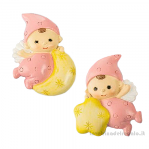 Magnete Baby Angelino Rosa su luna e stella 5 cm - Bomboniera battesimo bimba