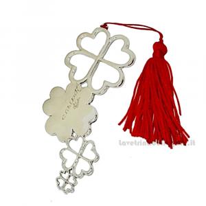 Segnalibro quadrifoglio con nappina Rossa 10.5 cm - Bomboniera laurea