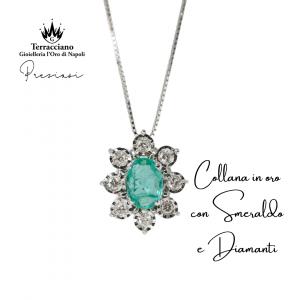 Collana in oro con Smeraldo e Diamanti
