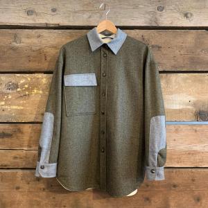 Giacca T-Coat In Flanella Diagonale Verdone Con Inserti Grigi