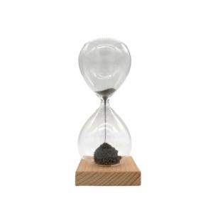 Clessidra vetro base legno magnetica 15cm