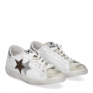 2Star 2813 sneaker bianco glitter bronzo