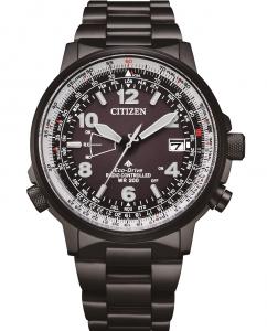 Citizen Pilot radiocontrollato, cassa e bracciale acciaio black, quadrante nero