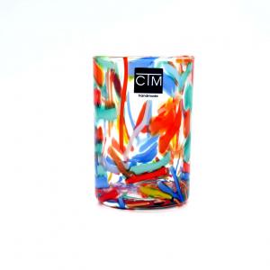 Bicchieri vetro multicolore fattia a mano