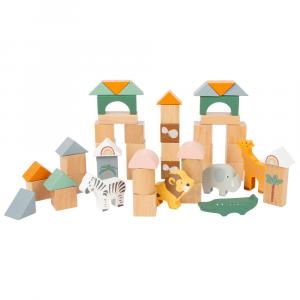 Cubetti da costruzione in legno Safari
