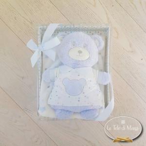 Copertina Culla orsetto con maglione azzurro