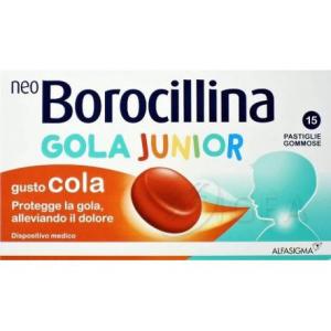 NeoBorocillina Gola Junior/Bambini Gusto Cola Mal di Gola 15 pastiglie gommose