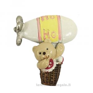 Magnete dirigibile Rosa con orsetto in resina 6 cm - Bomboniera battesimo bimba