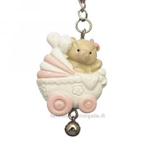 Portachiavi orsetto Rosa nella carrozzina in resina 7 cm - Bomboniera battesimo bimba