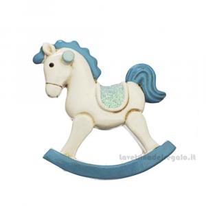 Magnete Cavallo a Dondolo Bianco e Celeste in resina 5 cm - Bomboniera battesimo bimbo