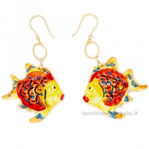 Orecchini pesci gialli e arancione in ceramica di Caltagirone - Gioielli Siciliani