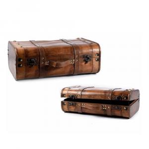 Set 2 valigie in legno marrone e pelle decorative