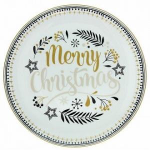 Tognana Piatto Panettone 30,50 Cm in Porcellana Colore Bianco Merry Christmas