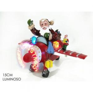 Babbo Natale su Aeroplano 15 cm Con Scritta 8 Led Luminosa