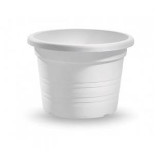 Veca Vaso Cilindrico Circolare 70 cm Colore Bianco Adatto per Piante e Fiori da Giardino