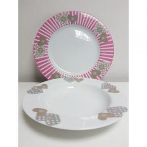 Servizio di Piatti Con Cuori Rosa e Decorato Modello Cuori Pink 19 Pezzi Cucina Casa Piatti Coordinati Per la Tavola