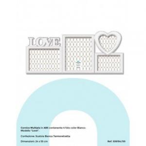 Virtime Porta Foto Multiplo con 4 Spazi Foto Bianco Con Decorazioni Love e Cuore Bianco Perla