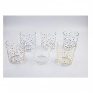 Italian Decor Confezione di 6 Bicchieri Dots Trasparenti con Piccole Decorazioni Cucina Casa