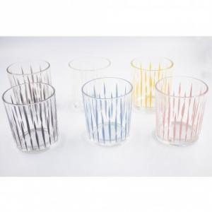 Italian Decor Confezione di 6 Bicchieri Da Acqua Mirage Arcobaleno Fantastici Decorati Trasparenti