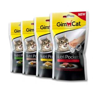 Nutripockets GimCat snack per gatto con ripieno cremoso con Manzo e Malto 60gr