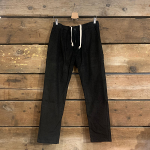 Pantalone Bakery Lowan In Velluto A Costine Nero Con Pence, Bottone e Coulisse