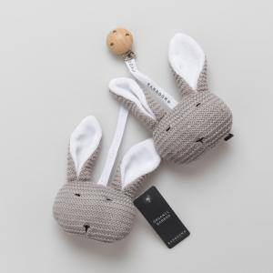 Coniglietti con clip in legno Warm grey