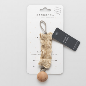 Portaciuccio con clip in legno Bamboom Light gold