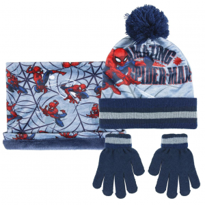 Cappello Scaldacollo e guanti Spiderman da 3 A 7 Anni Blu
