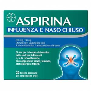 Aspirina 500 mg + 30 mg Influenza e Naso Chiuso 20 Bustine Granulato