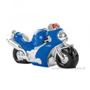 Portachiavi Moto Blu con il numero 46 in resina 5x3.5 cm - Bomboniera comunione bimbo
