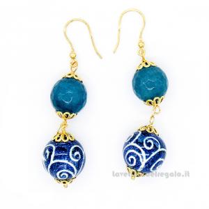 Orecchini con agata azzurra e sfere in ceramica di Caltagirone - Gioielli Siciliani