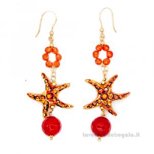 Orecchini agata e stella marina arancione in ceramica di Caltagirone - Gioielli Siciliani