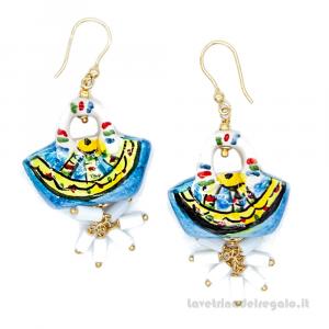 Orecchini con coffa azzurra in ceramica di Caltagirone - Gioielli Siciliani