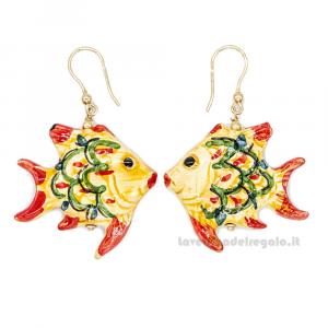 Orecchini pesci gialli in ceramica di Caltagirone - Gioielli Siciliani