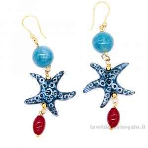 Orecchini agata azzurra con stella marina in ceramica di Caltagirone - Gioielli Siciliani