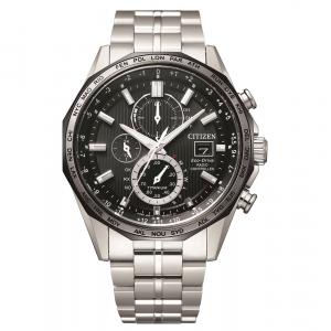 Citizen orologio cronografo, radio controllato supertitanio, quadrante nero