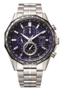 Citizen orologio cronografo, radio controllato supertitanio, quadrante blu