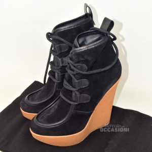 Ankle Boots With Zeppa Dsquared N 39 Velour Black