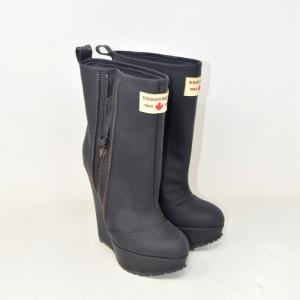 Ankle Boot Woman Dsquared2 Black In Vitello Gommato N 35 1 / 2