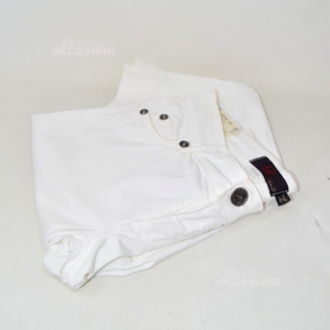 Pantaoni Woman Liu White 98% Cotton Made In Italy Tg 26