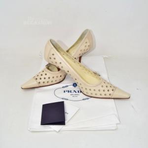 Shoes Heel Prada In True Leather Beige Clear Buchi N 37