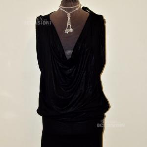 Dress Woman Guess Black Scollo Morbido 94% Viscosa Tg L
